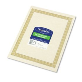 Geographics - Parchment Paper Certificates, 8-1/2 x 11, Natural Diplomat Border -  50/Pack