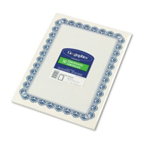 Geographics - Parchment Paper Certificates, 8-1/2 x 11, Blue Royalty Border -  50/Pack