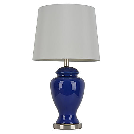 Ceramic Table Lamp, Rich Blue