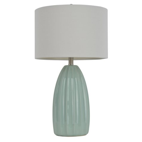 Ribbed Ceramic Table Lamp, Light Blue