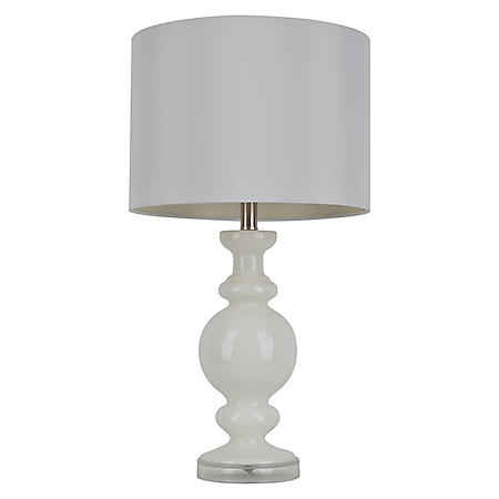 Milk Glass Table Lamp with Faux Silk Shade
