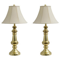 "Polished Brass 32"" Table Lamps, Set of 2"
