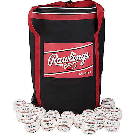 Rawlings Official League Recreational 8U Baseballs and Soft Sided Ball Bag with Carry Straps, 24 OLB3 Baseballs (Ages 8 & Under)