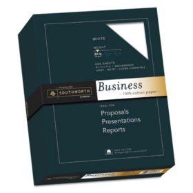 "Southworth 100% Cotton Business Paper, 8.5"" x 11"", 20 lb., Wove Finish, White, 500 Sheets"