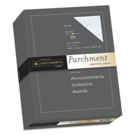 "Southworth Parchment Specialty Paper, 8.5"" x 11"", 24 lb., Blue, 500 Sheets"