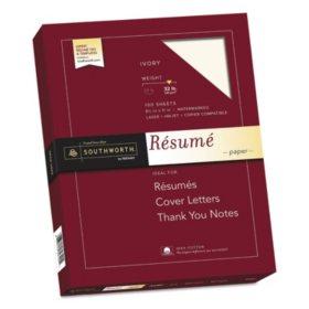 """Southworth 100% Cotton Résumé Paper, 8.5"""" x 11"""", 32 lb., Wove Finish, Ivory, 100 Sheets"""