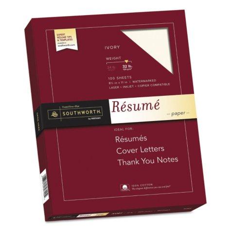 Southworth - 100% Cotton Résumé Paper, 32lb, Ivory - 100 Sheets