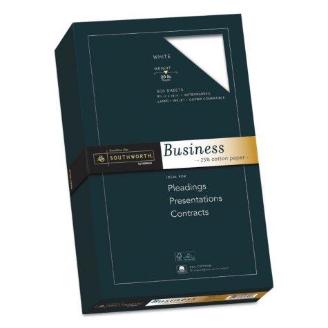 """Southworth - Fine Business Paper, 20lb, 8-1/2 x 14"""", White - Ream"""