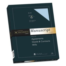 "Southworth 25% Cotton Blue Manuscript Paper, 9"" x 12.5"", 30 lb. Cover Weight, Blue, 100 Sheets"