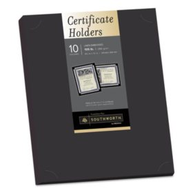 "Southworth Certificate Holders, 9.5"" x 12"", Black Linen Embossed, 105 lb. Cardstock, 10 Holders"