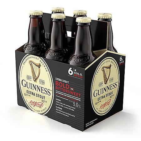 Guinness Extra Stout Import Beer (11.2 fl. oz. bottle, 6 pk.)