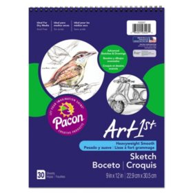 Pacon Art1st Artist's Sketch Book, 80 lb, 9 x 12, White, 30 Sheets