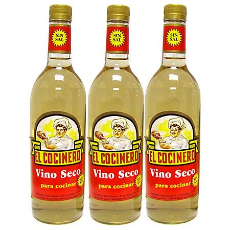 El Cocinero Vino Seco Para Cocinar Cooking Wine (750 mL, 3 pk.)