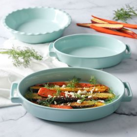Martha Stewart 3-Piece Martha Blue Oval Baker Set