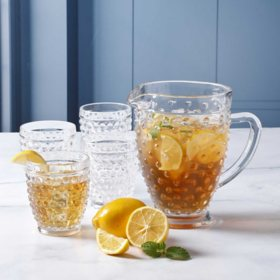 Martha Stewart 5-Piece Hobnail Glass Pitcher Set (Assorted Colors)