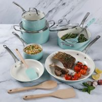 Martha Stewart 14-Piece White Ceramic Interior Cookware Set (Assorted Colors)