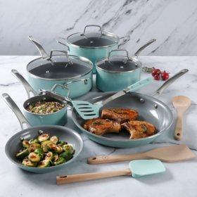 Martha Stewart 14-Piece Gray Ceramic Interior Cookware Set (Assorted Colors)