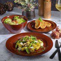 Gibson Elite 18-Piece Reactive Glaze Terracotta Dinnerware Set (Assorted Colors)