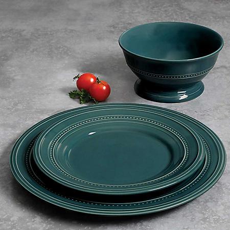 Gibson Elite 18-Piece Transparent Glaze Barberware Dinnerware Set (Assorted Colors)