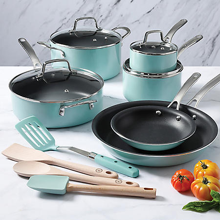 Martha Stewart 14-Piece Nonstick Aluminum Cookware Set (Assorted Colors)