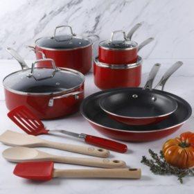 Martha Stewart 14-Piece Nonstick Aluminum Cookware Set (Assorted Colors)