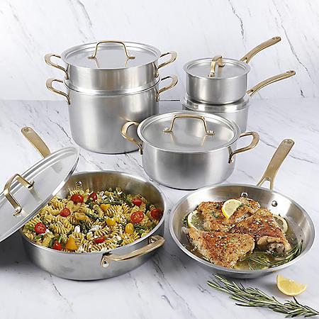 Martha Stewart Stainless-Steel 12-Piece Cookware Set