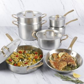 Martha Stewart Stainless-Steel 12-Piece Cookware Set