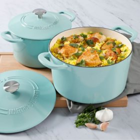 Martha Stewart 4-Quart and 7-Quart Enamel on Cast Iron Dutch Ovens, 2 Pack (Assorted Colors)