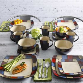 Gibson Home Soho Lounge 16-Piece Reactive Glaze Dinnerware Set (Assorted Colors)