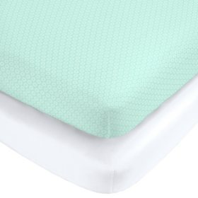Carter's Fitted Crib Sheet Set, 2 Pack (Choose Your Color)