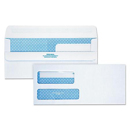 Quality Park - Redi-Seal Envelope, Security, #9, Double Window, Contemporary, White -  250/Carton