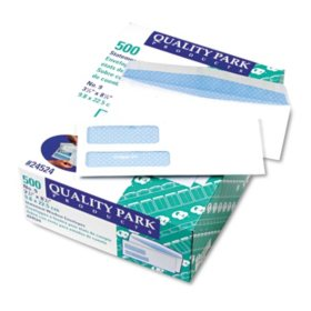 Quality Park - Double Window Envelopes, #9, Security Tint, Gummed - 500 Count