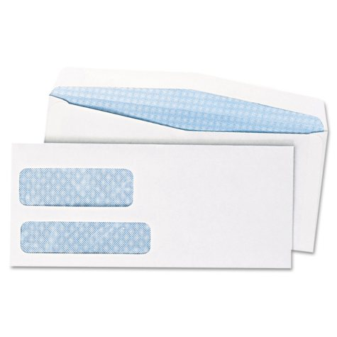 Quality Park - Double Window Security Tinted Invoice Envelope, Gummed Flap, #10, White - 500/Box
