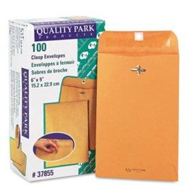 "Quality Park - Clasp Envelope, 6"" x 9"", Brown Kraft - 100/Box"