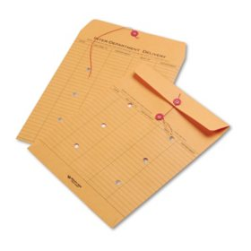 Quality Park - Brown Kraft Kraft String & Button Interoffice Envelope, 10 x 13 - 100/Carton
