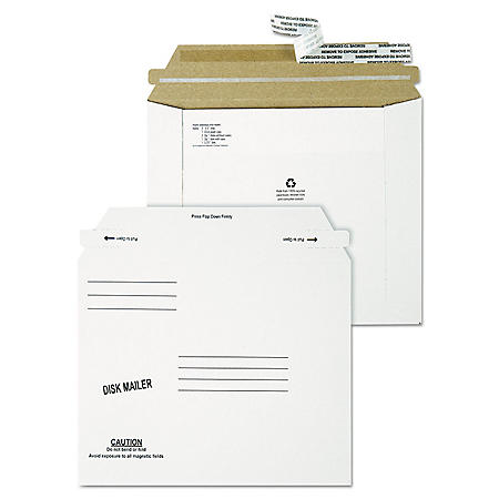 Quality Park - Redi-Strip Economy Disk Mailer, 7 1/2 x 6 1/16, White, Recycled, 100 Pack