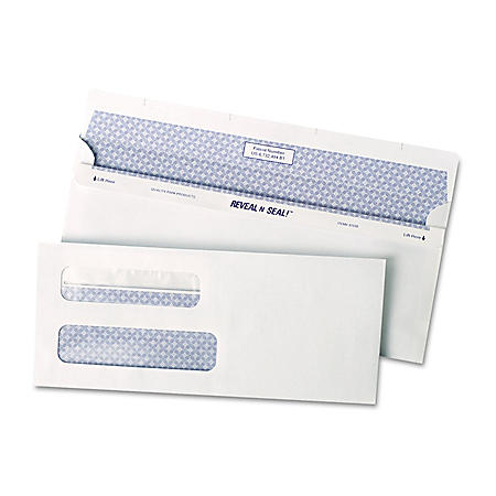 Quality Park - Reveal-N-Seal Double Window Check Envelope, Self-Adhesive, White - 500/Box