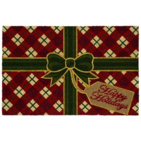 "Mohawk Home ""Happy Holidays"" 2' x 3' Rectangle Coir Mat, Red"