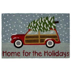 """Mohawk Home """"Home for the Holidays"""" 2' x 3' Rectangle Coir Mat, Blue"""