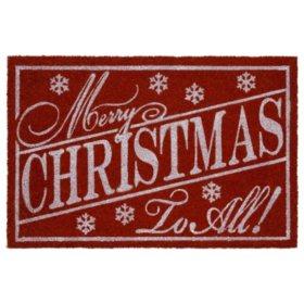 """Mohawk Home """"Merry Christmas"""" 2' x 3' Rectangle Coir Mat, Red"""