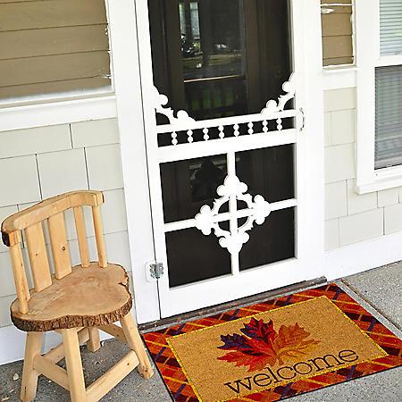 Mohawk Autumn Leaf Plaid Welcome Rectangle Coir Mat, 2' x 3'