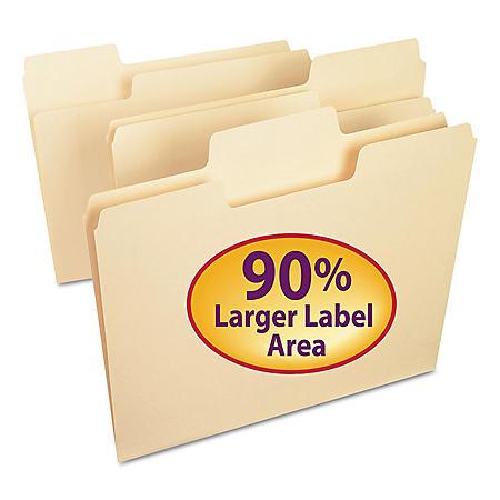 Smead 1/3 Cut Assorted Positions SuperTab File Folders, Manila (Letter, 100ct.)