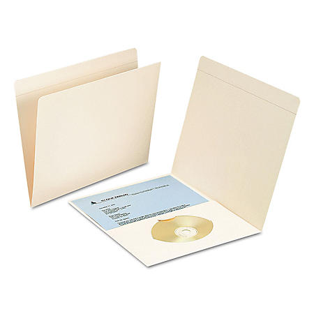 Smead File Folders with Media Pocket, Straight Tab, Letter, Manila, 50ct.