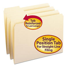 Smead 1/3 Cut Left of Center File Folder, Reinforced Top Tab, Letter, Manila, 100ct.