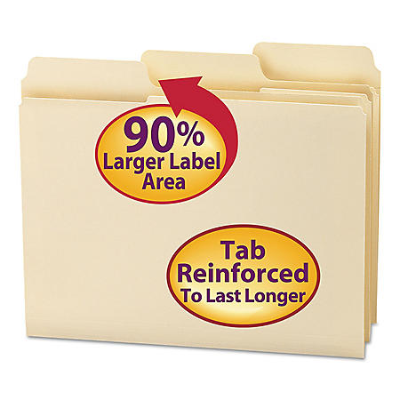 Smead 1/3 Cut Assorted Positions SuperTab Guide Height Reinforced File Folders, Letter, Manila, 100ct.