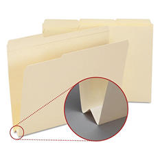 "Smead 1 1/2"" W-Fold Expansion Heavyweight File Folders, 1/3 Cut Assorted Positions, Letter, Manila, 50ct."