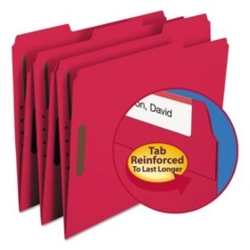 Smead 1/3 Cut Assorted Positions File Folders, Two Fasteners, Letter, 50ct., Select Color