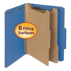 "Smead 2"" Expansion Pressboard Classification Folder, Two Dividers, Letter, Dark Blue, 10ct."