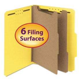 "Smead 2"" Expansion Pressboard Classification Folder, Two Dividers, Letter, Yellow, 10ct."