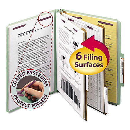 Smead 2/5 Cut Tab Pressboard Six-Section Classification Folders, Choose Color (Letter, 10ct.)